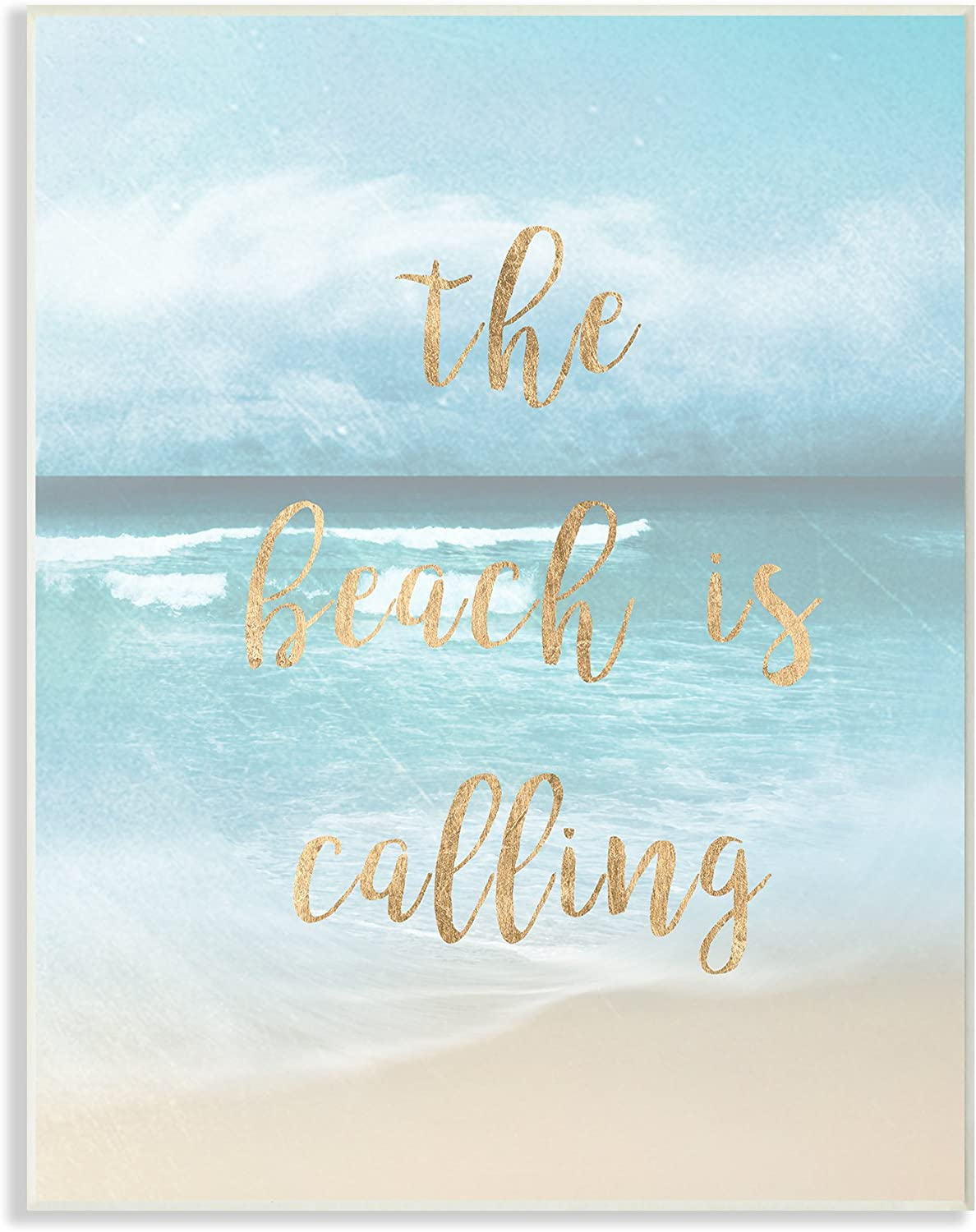Stupell Home Décor The Beach Is Calling Gold Typography Wall Plaque Art, 10 x 0.5 x 15, Proudly Made in USA