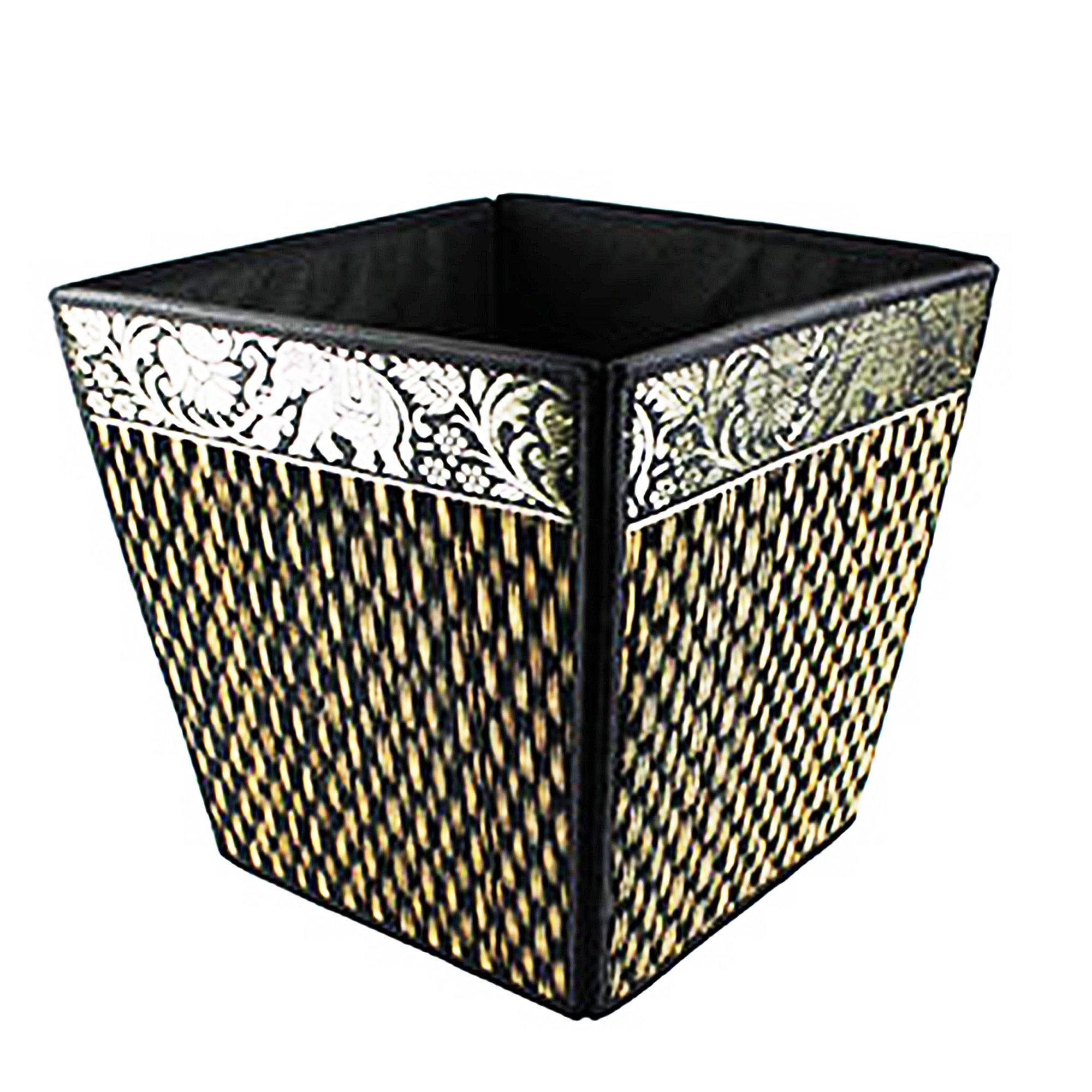 chantubtimplaza Waste Basket Thai Elephant Silk Reed Paper Bin Home Decor Black Color by chantubtimplaza