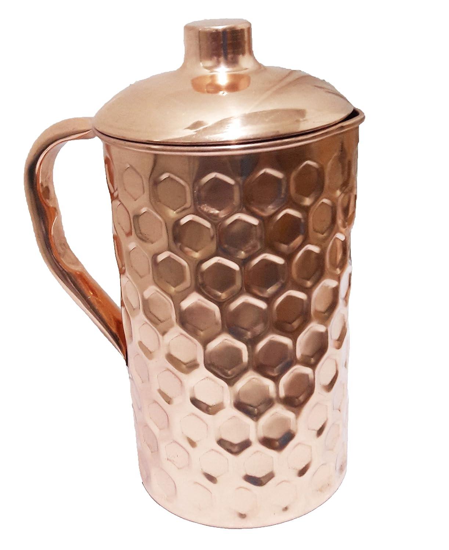 Pure Copper Hammered Water Jug | Copper Pitcher for Ayurveda Health Benefit Big Hammered Parijat Handicraft PITCHER-PH-0002F