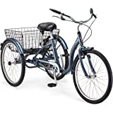 Schwinn Meridian Adult Tricycle, Three Wheel Cruiser Bike, 24 - 26-Inch Trike Wheels, Cargo Basket, Adjustable Handlebars, Mu