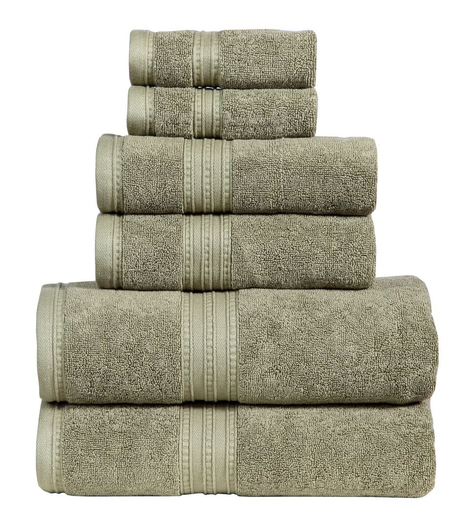 650 GSM Luxury Bathroom 6-Piece Towel Set, Made of 100% Premium Long-Staple Combed Cotton, 2 Hotel & Spa Quality Washcloths, 2 Hand Towels, and 2 Bath Towels, Soft & Absorbent, MONARCH, SAGE
