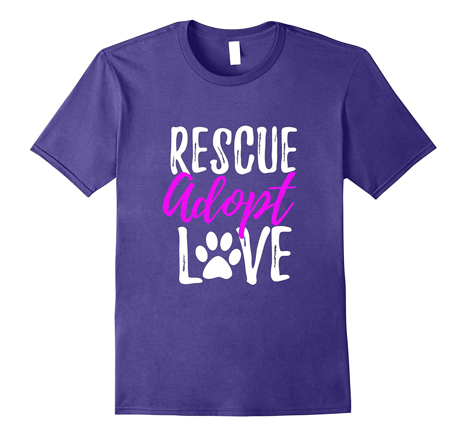 Rescue Adopt Love T-Shirt Funny as Dog or Cat Lover Gift-BN