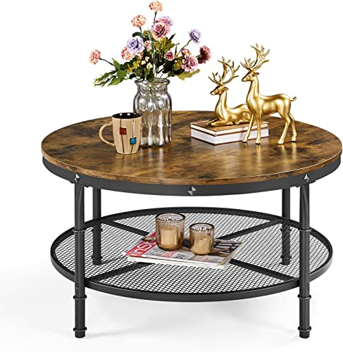 YAHEETECH 2-Tier 35.5in Rustic Round Coffee Table,Rustic Brown Industrial Furniture Table