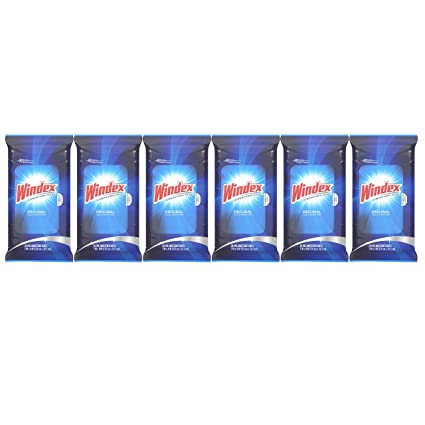 Windex Original Glass Wipes, 6 Pack, 28 ct