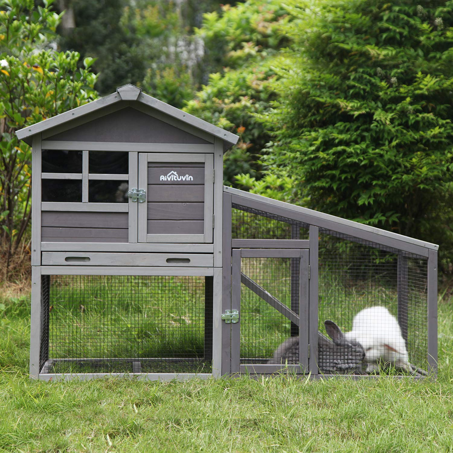 Aivituvin Chicken Coop Indoor and Outdoor,Rabbit Hutch with Removable Bottom Wire Mesh & PVC Layer,Deeper No LeakageTray,Wooden Hen House with Nesting Box,UV Panel by Aivituvin (Image #6)