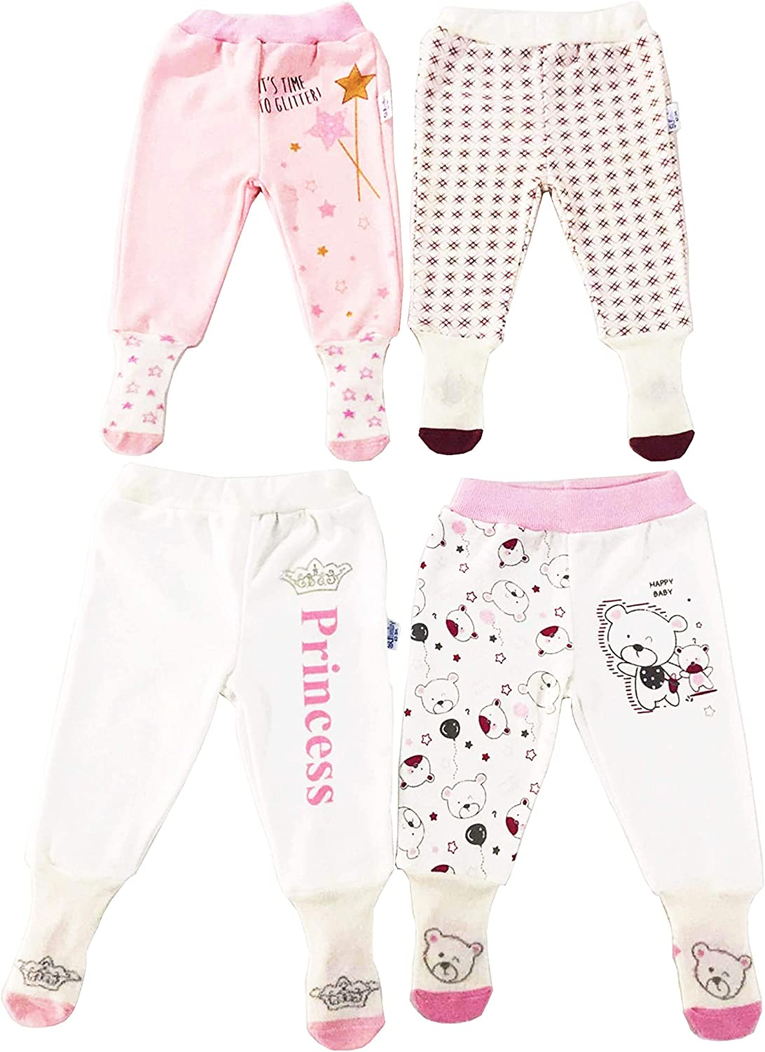 Subaby Baby Infant Toddler 3-6-9-12 Months Pants with Socks 100/% Cotton Footed Bottom 4-Pack Footies for Baby Girls and Boys