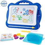 SGILE Magnetic Board with Stamps Sketch Boards and Album for Kids, Erasable Colorful Scribble Board, Toddlers Magna Doodles Writing Pad Learning toys, 42×33.5cm, Blue