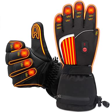Skiing & Snowboarding Pu Leather Rechargeable Heated Ski Gloves Thermal Snow Gloves Motorcycle Women Men Winter Hand Warm Gloves Latest Technology Sports & Entertainment