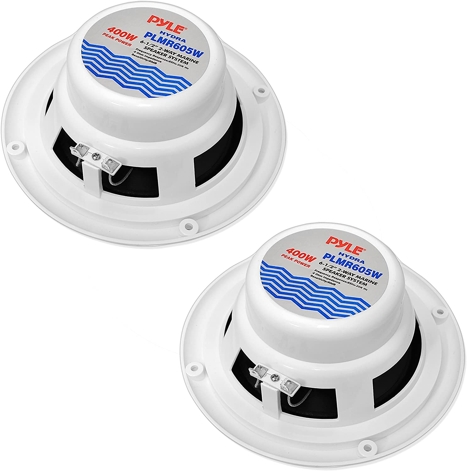 6.5 Inch Dual Marine Speakers Sound Around PLMR605B 2 Way Waterproof and Weather Resistant Outdoor Audio Stereo Sound System with 400 Watt Power Black 1 Pair Polypropylene Cone and Butyl Rubber Surround PLMR605W