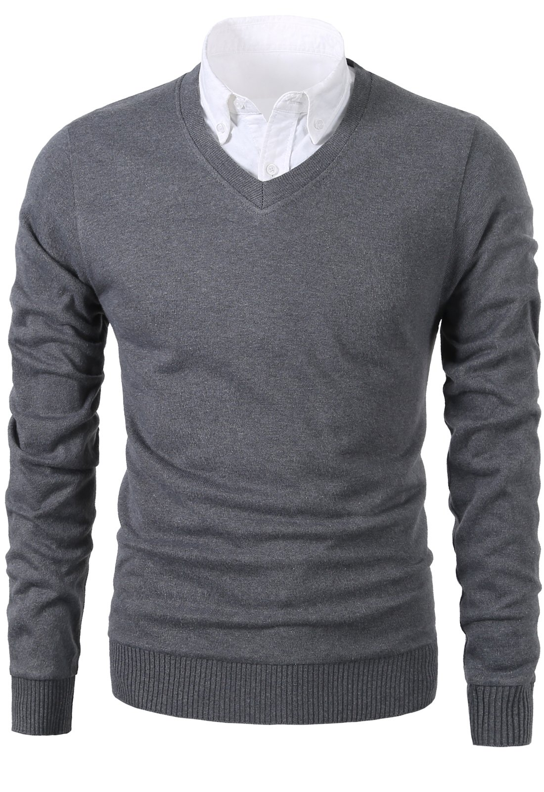 Mesahara Mens Slim Fit Light Weight V-Neck Pullover Sweater (S, Grey) by Mesahara