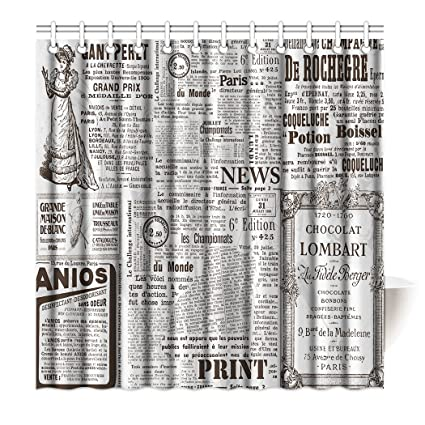 SXCHEN Shower Curtain Artistic Old Newspaper News Advertising Waterproof Polyester Bath 72quot