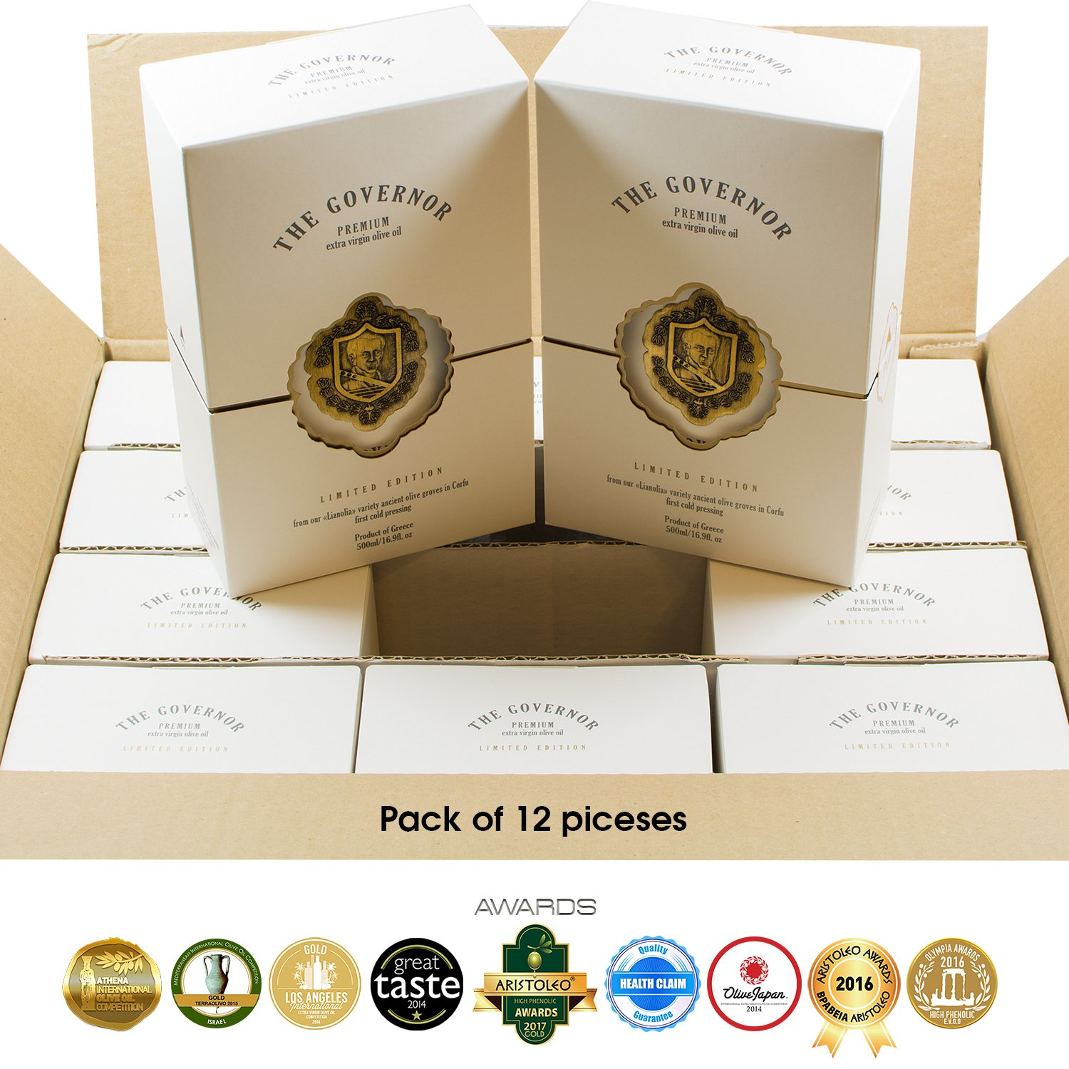 The Governor | Ultra Premium Unfiltered Extra Virgin Olive Oil | Olive Oil Polyphenols with Robust Health-Giving Properties | Limited Edition Cold-Pressed | Luxury Glass Bottle | 500ml (Pack of 12)