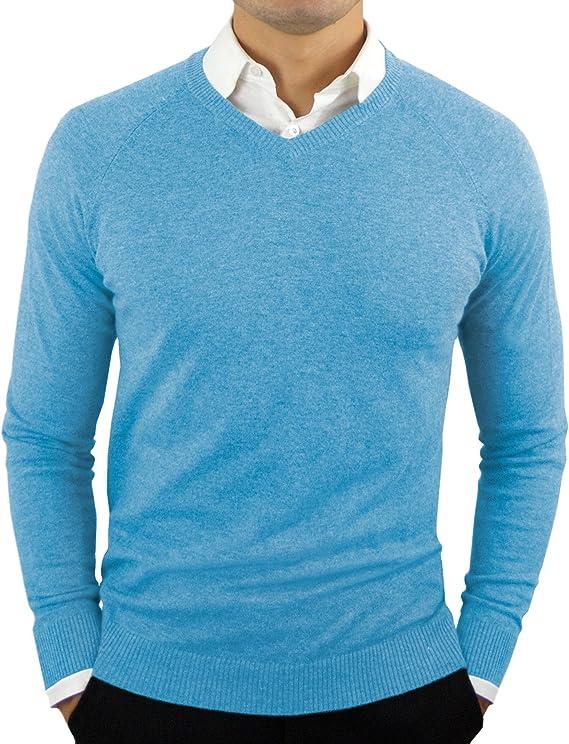 Model has worn light blue v-neck sweater