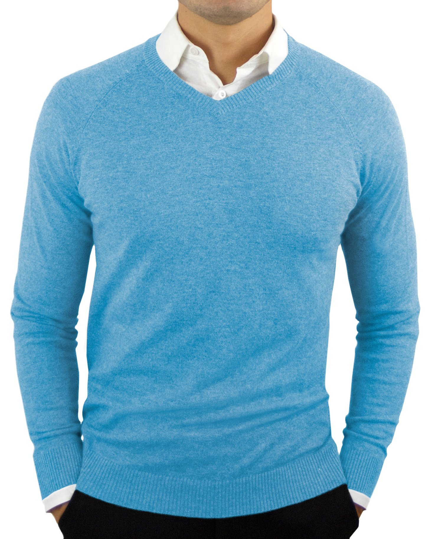 Comfortably Collared Men's Perfect Slim Fit V-Neck Sweater Medium Ethereal Blue