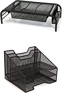 Mind Reader MESHMONBOX-BLK Metal Mesh Monitor Stand with Drawer Organizer, Mesh Desk Organizer 5 Trays Desktop Document Letter Tray for Folders, Mail, Stationary, Desk Accessories, Black 2 Pc Set