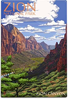 product image for Lantern Press Zion National Park, Utah - Zion Canyon View 43118 (6x9 Aluminum Wall Sign, Wall Decor Ready to Hang)