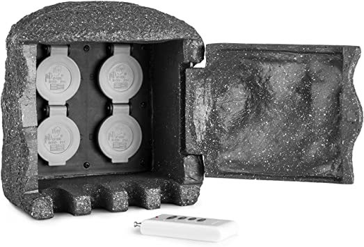 Waldbeck Power Rock Remote Toma de corriente para jardín (4 cajas de enchufe, 3 m de cable, resistente al agua, mando a distancia) - imitación piedra gris oscuro: Amazon.es: Bricolaje y herramientas