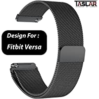 TASLAR Milanese Loop Stainless Steel Metal Bracelet Strap with Magnet Lock for Fitbit Versa for Women and Men (Black)