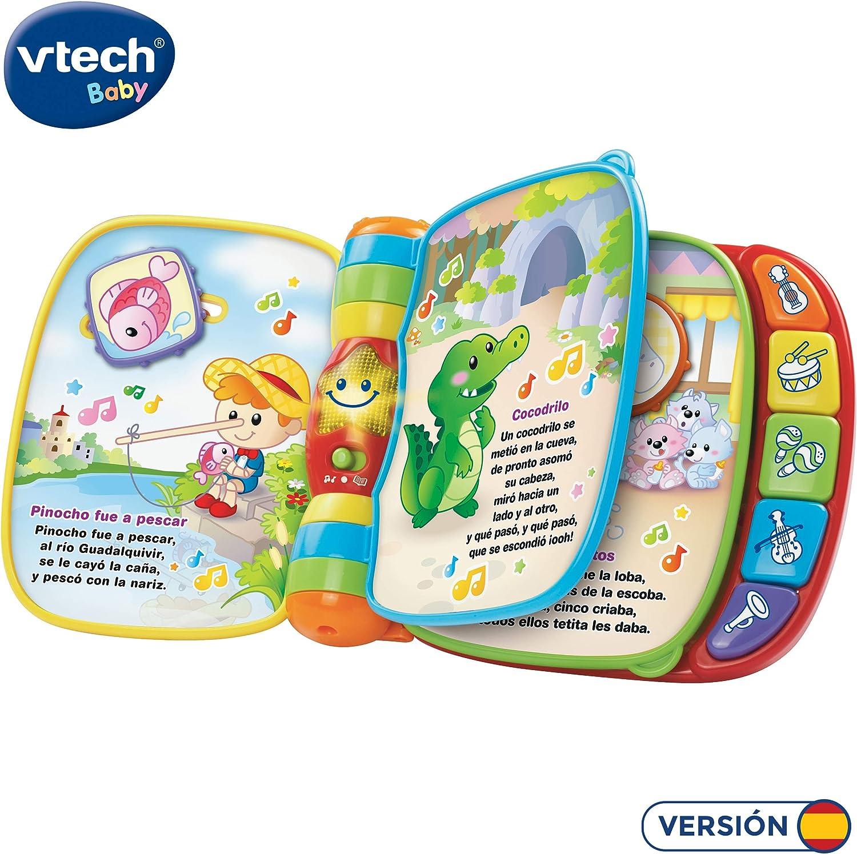 VTech Baby - Primeras canciones, Libro musical infantil con canciones populares para niños, botones para aprender instrumentos y sus sonidos (80-166722)