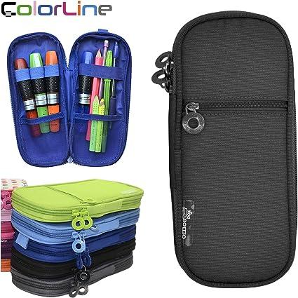 Colorline 59211 - Porta Todo Plano, Estuche Multiuso para Viaje, Material Escolar, Neceser... Color Negro, Medidas 22 x 10 x 3 cm: Amazon.es: Oficina y papelería