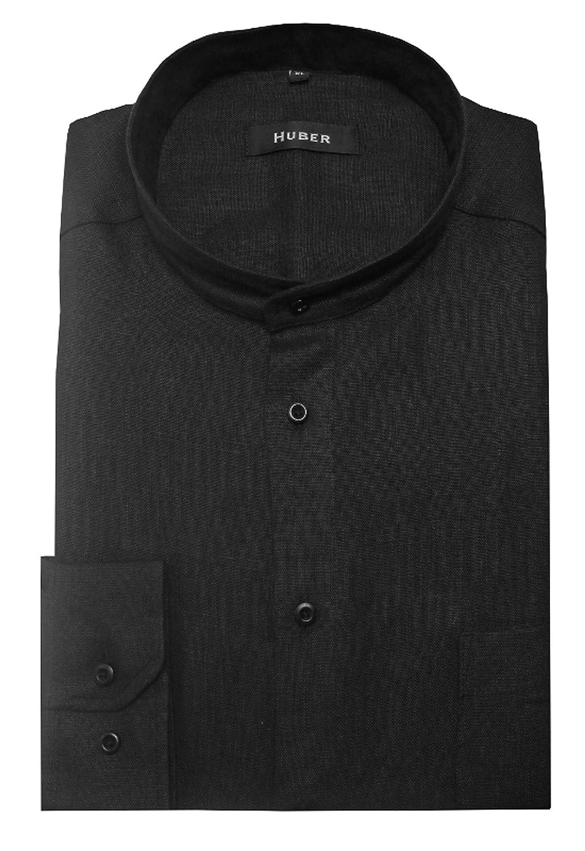 HUBER Herren Stehkragen Leinen Hemd schwarz HU-0050 Regular Fit B00SWRX6RW Freizeit Saisonaler heißer Verkauf