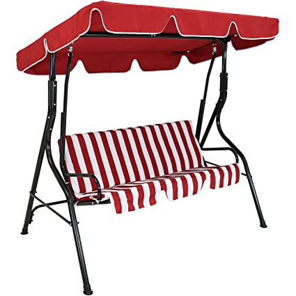 Amazon Com Sunnydaze Outdoor Porch Swing With Adjustable Canopy