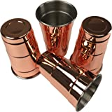 BonBon Moscow Mule Mugs - 4 Pack Copper Red Solo Cups Pure Copper Stainless lines glass for mule recipe cocktail beverages, soft drinks, Handcrafted, 16oz, 20 Gauge Hammered (Set of 4)