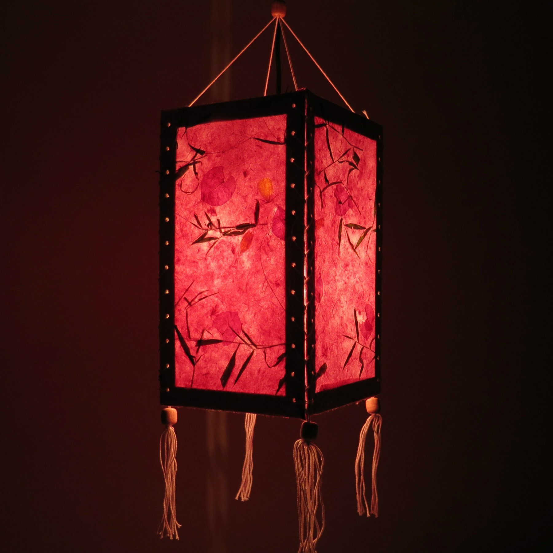 12'' Hanging Paper Lampshade Lantern made of Saa Paper, Light Lamp Shades for Wedding, Birthday Party, Home Decor (Pink)