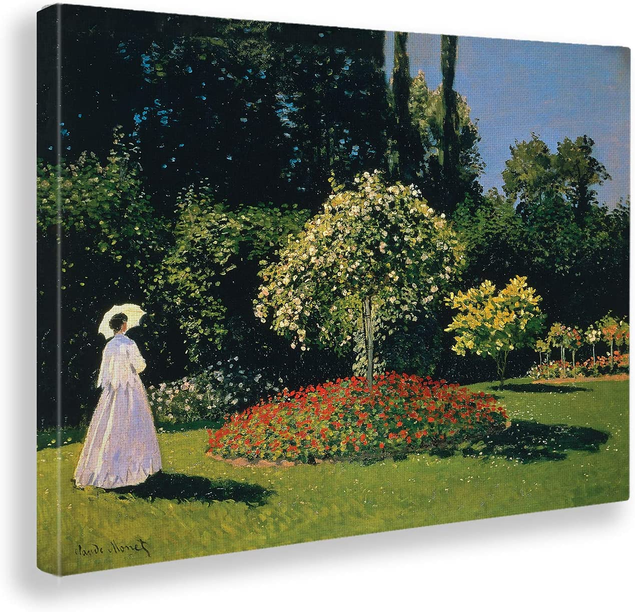 Giallobus - Cuadro - Claude Monet - Mujer y jardín - Estampado en Lienzo - Listo para Colgar - Varios tamaños - 100x70 cm