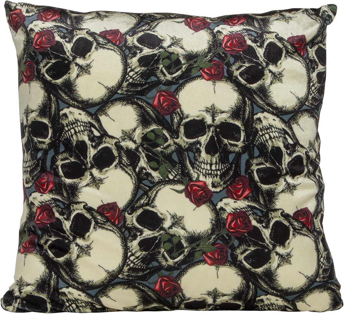 Decorative Velvet Skulls Roses 18 x 18 Inch Halloween Throw Pillow Cover Cushion Case