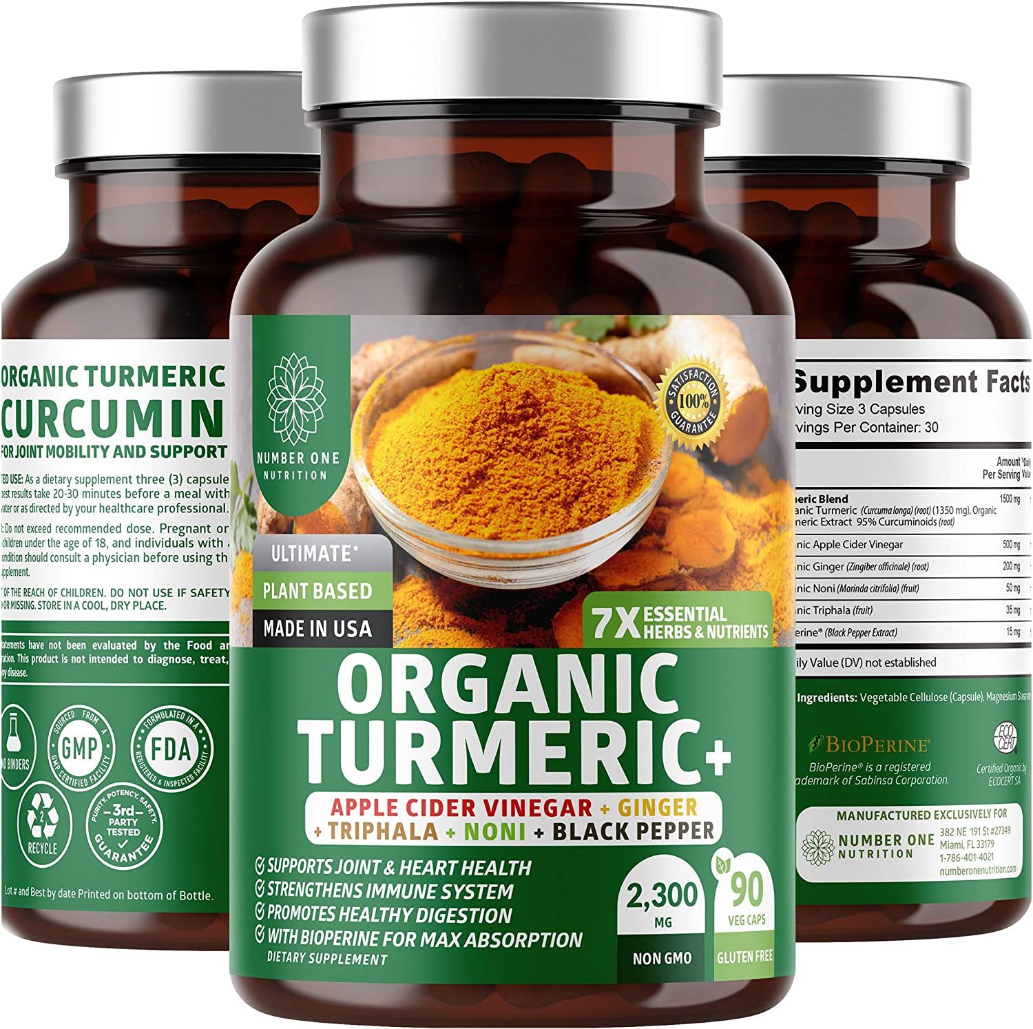 N1N Premium Turmeric Curcumin with BioPerine [Max Absorption, 2300mg] Organic Turmeric Capsules with 95% Curcuminoids, Ginger, Apple Cider Vinegar for Pain Relief, Joint & Digestion Support, 90 Caps