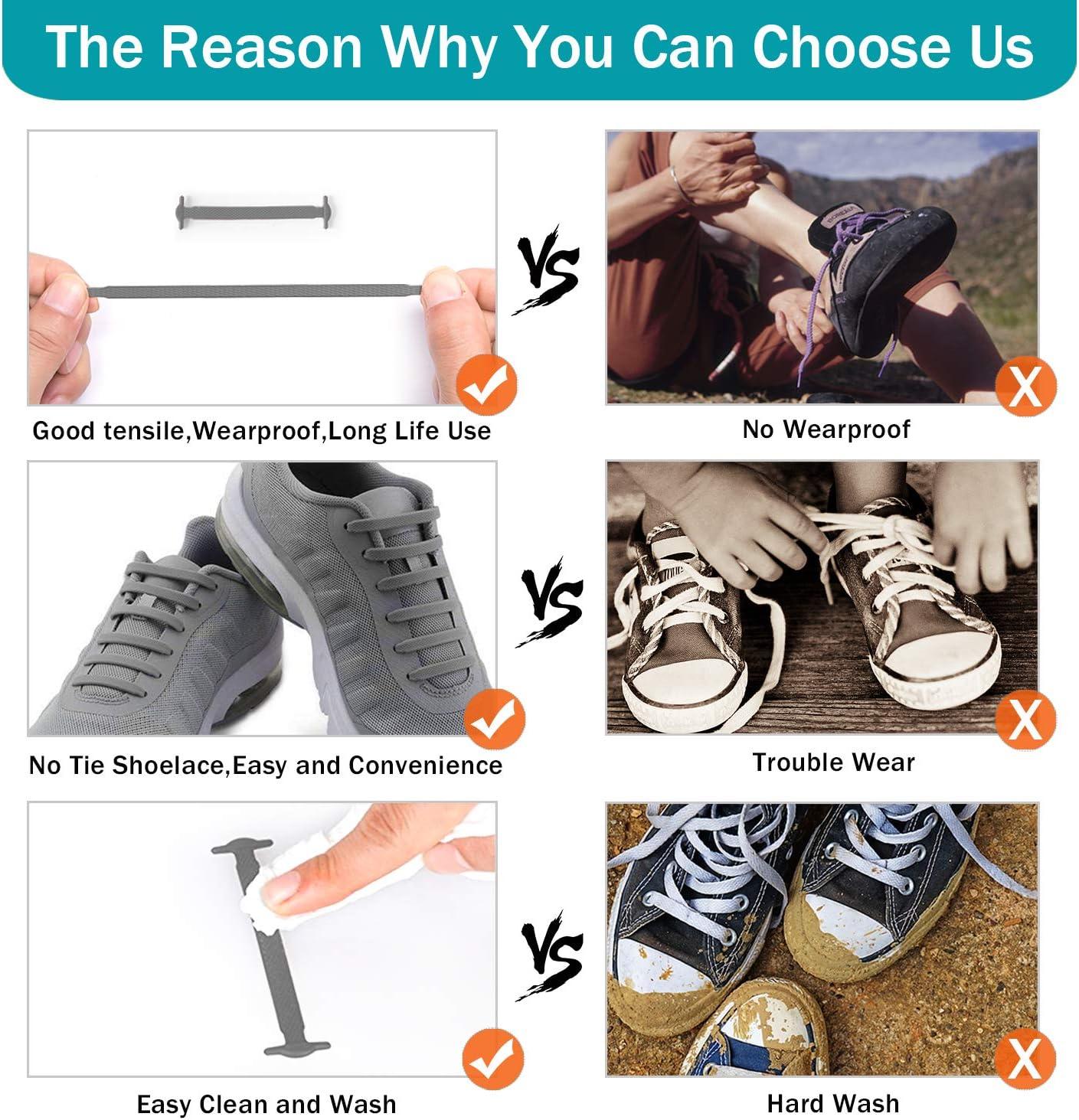 BQYPOWER Schnürsenkel für Kinder und Erwachsene, ohne Binden