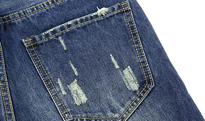 cb805601c1de CHFYI Männer Mittlere Taille Straight Slim Zerrissene Jeans Ohne Gürtel   Amazon.de  Bekleidung