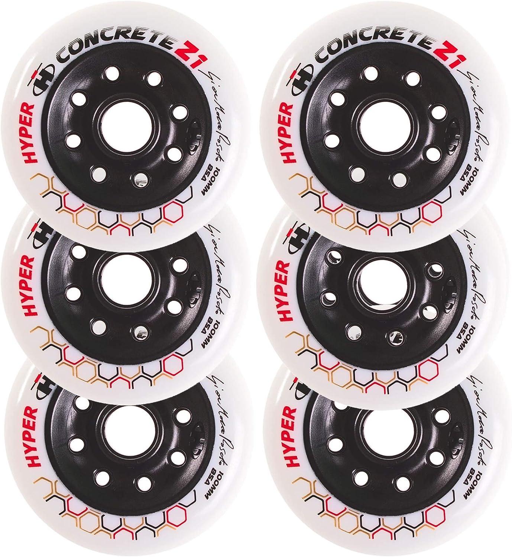 New Inline Skate Wheels for triskates Hyper Concrete Z1 White//Black 100MM // 85A 6 Wheels
