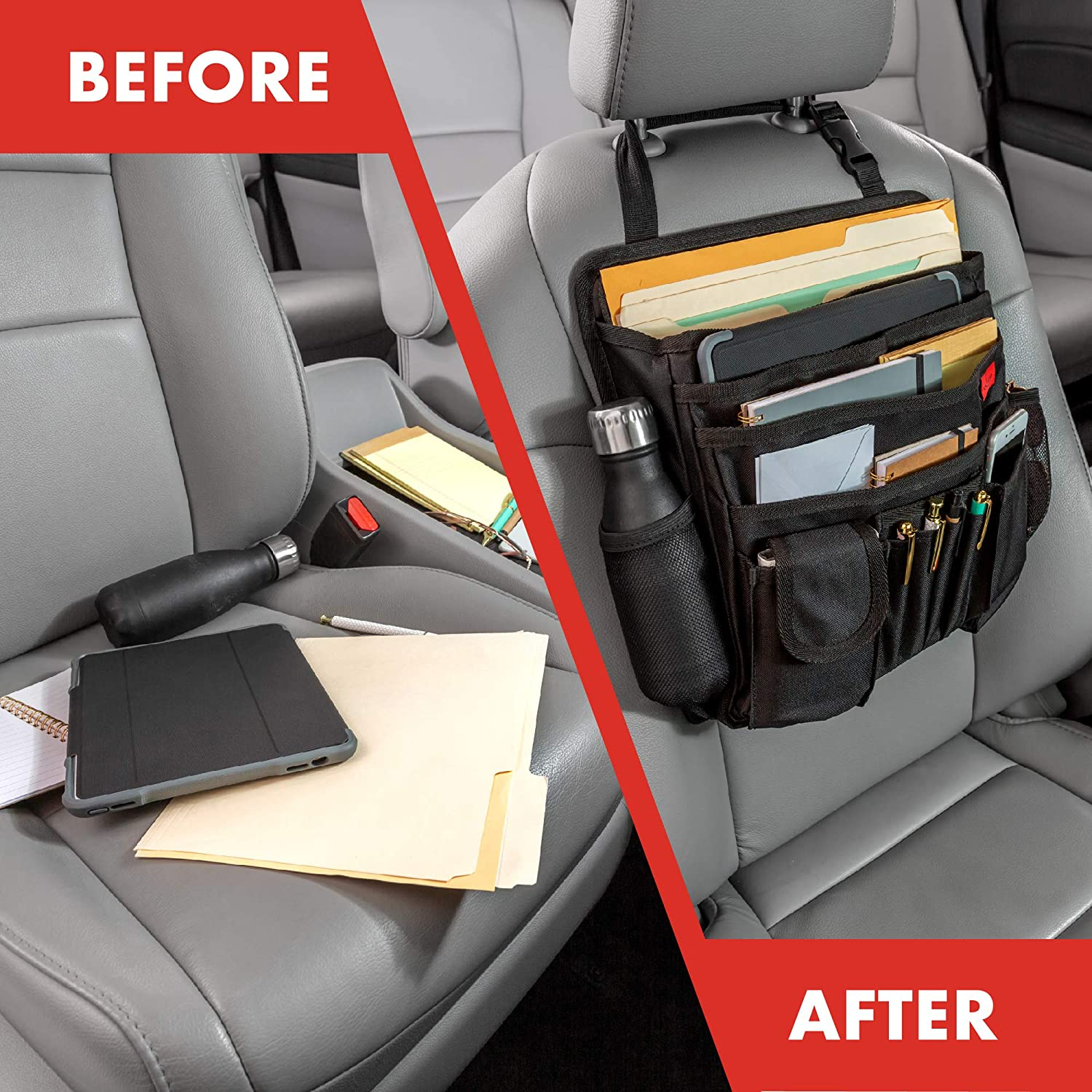 Lusso Gear Car Front Seat Organizer Mobile//Car Office Organizer Also for Law Enforcement//Police//Patrol Bag Fits Any Car//Truck Strong /& Durable Storage for Laptop//iPad//Office Supplies /& More
