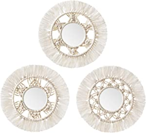 Mkono Mini Round Wall Mirror with Macrame Fringe Set of 3 Small Wall Hanging Circle Mirror Boho Home Decor for Apartment Living Room Bedroom Baby Nursery,Beautiful Gift Ideas, 2.7''D, X-Small