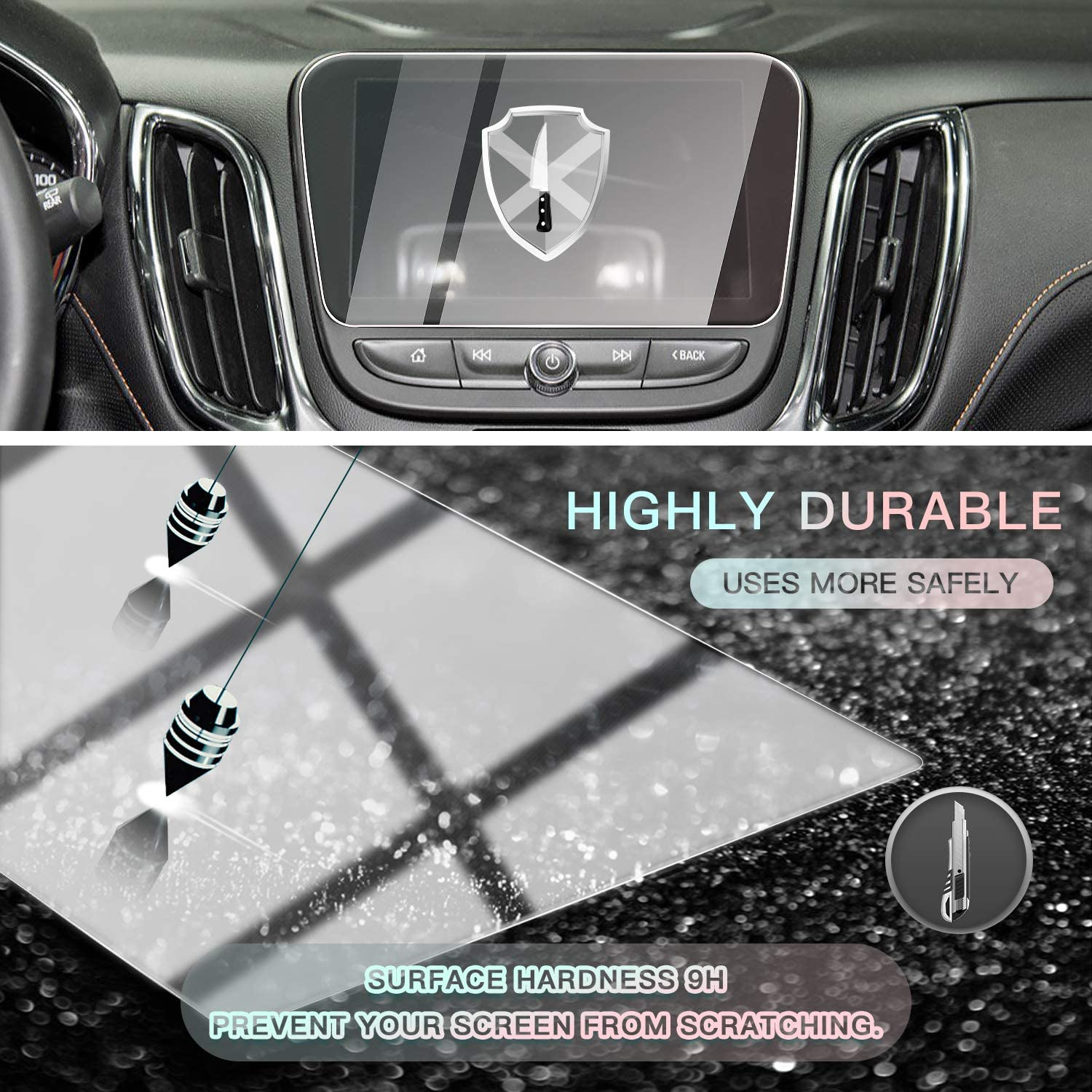 CDEFG Car Screen Protector Center Control Navigation Touch Screen Protector for 2011-2017 Equinox LT//Malibu//Volt Tempered Glass HD Scratch Resistance 7IN