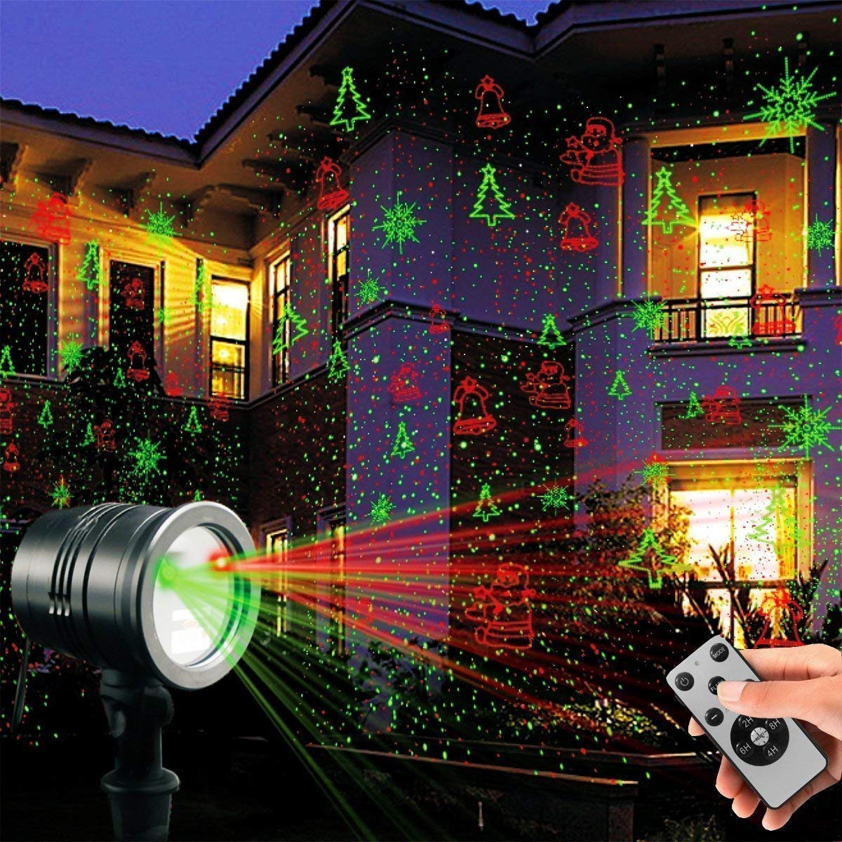 Laser Decorative Lights Garden Laser Light Projector Remote Control Indoor Outdoor Decorations 5W Light Show Green Red Cola Bell for Halloween Christmas Party Holiday etc.