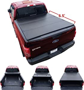 Amazon Com Galaxy Auto Hard Tri Fold For 2015 19 Ford F150 6 5 Bed Styleside Models Only Black Trifold Truck Bed Tonneau Cover Automotive