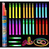 "Glow Sticks, 52 Pieces Including 28 6"" Long 0.6"" Extra Thick Premium Industrial Grade Glow Sticks (3 in Whistle Shape) and 24 8"" Long Multicolor Glow Stick Bracelets. by Joyin Toy"