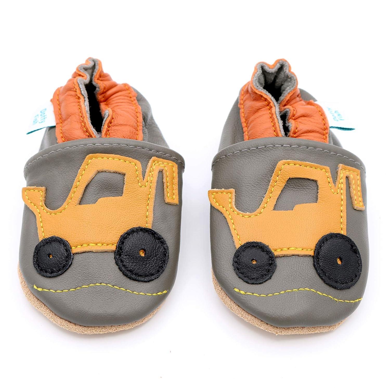 0-6 Mois Dotty Fish Chaussures Cuir Souple b/éb/é et Bambin Pantoufles pour gar/çons avec Voitures et Animaux. 4-5 Ans