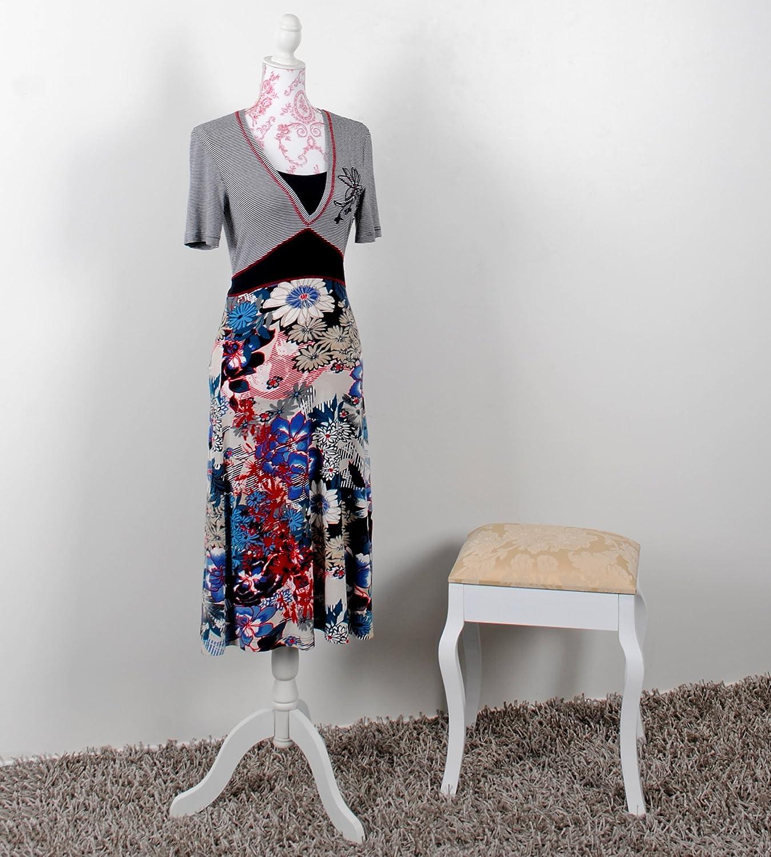 Maniquí de estilo clásico blanco para mujer de talla 36/38 con elegante patrón de flores rojas: Amazon.es: Hogar