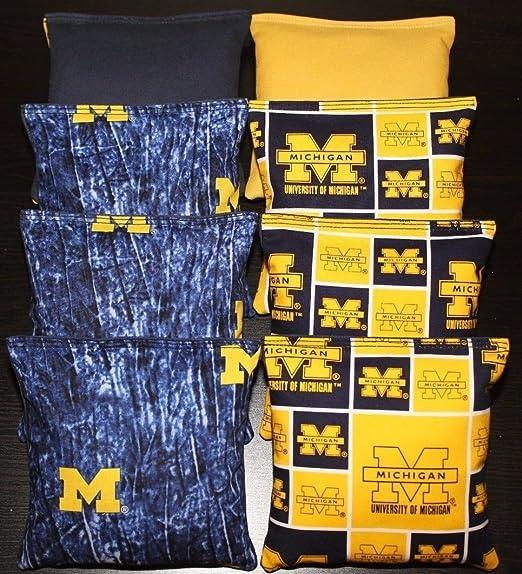 UNIVERSITY of MICHIGAN Cornhole Bags 8 Wolverines Corn Hole Bags ACA Regulation Bean Bags