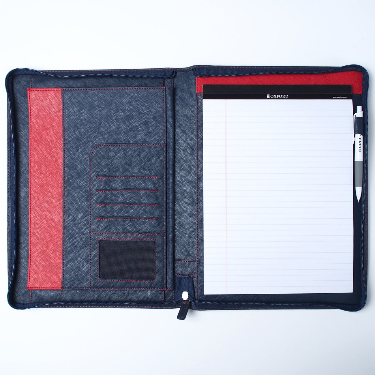 AHZOA 8 Pockets A4 Size Memo Padfolio S5 with Mechanical Pencil, Including 8.27 X 11.7 inch Legal Writing Pad, Zip-up Style, Synthetic Leather Handmade 10.24 X 13.78 inch Notepad Clipboard (Navy)