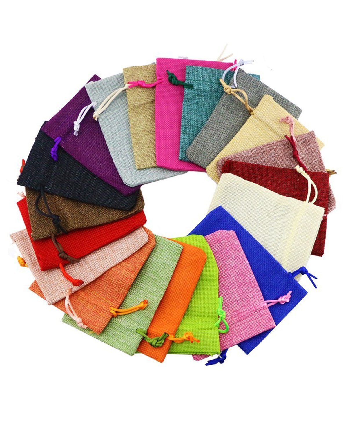 Fyess 20 PCS Christmas Party Bags Burlap Bags with Drawstring Gift Bags for Wedding Party,Arts & Crafts Projects, Presents, Snacks & Jewelry,Christmas Natural Muslin Drawstring Bags 100% Cotton Wove