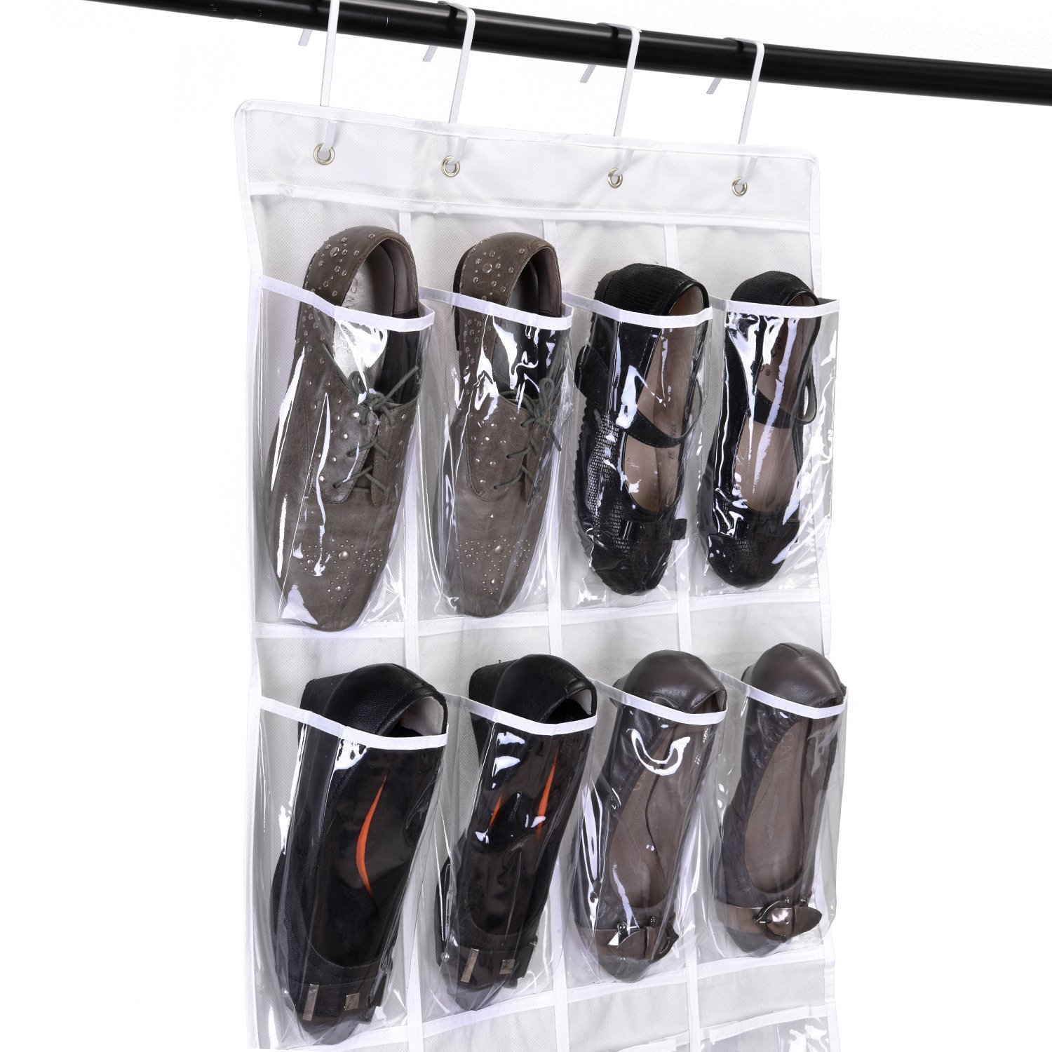 64 Inches High MaidMAX Over The Door Hanging Shoe Organizer with 24 Clear Pockets and 4 Metal Hooks