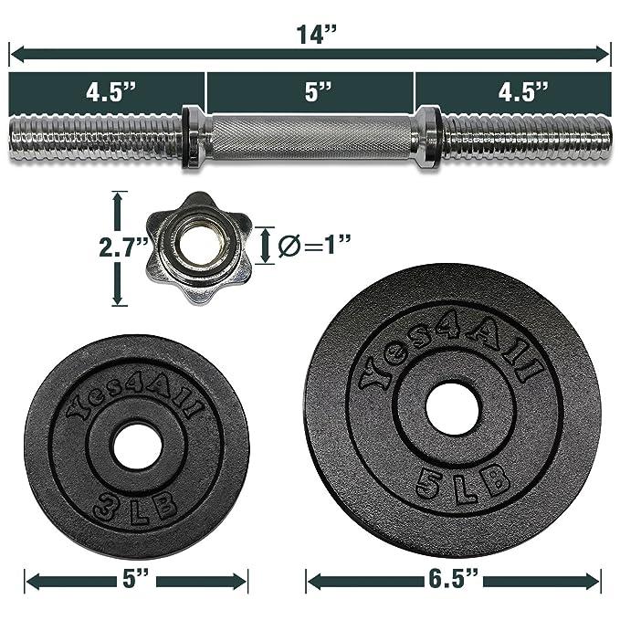 Yes4All - Mancuernas ajustables (18,1 / 22,7 / 23,8 / 27,2 / 47,6 / 90,7 kg) - D2CL: Amazon.es: Deportes y aire libre