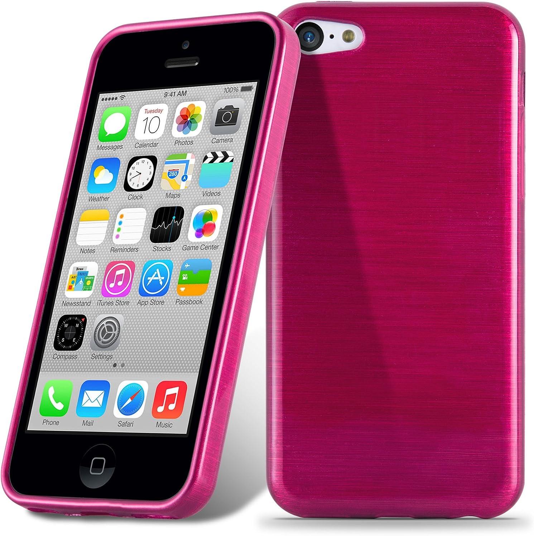 Ultra Slim Fin Gel Case Cover Bumper Housse Protection Souple en Silicone TPU avec Anti-Choc et Anti-Rayures Cadorabo Coque pour Apple iPhone 5C en Rose Vif