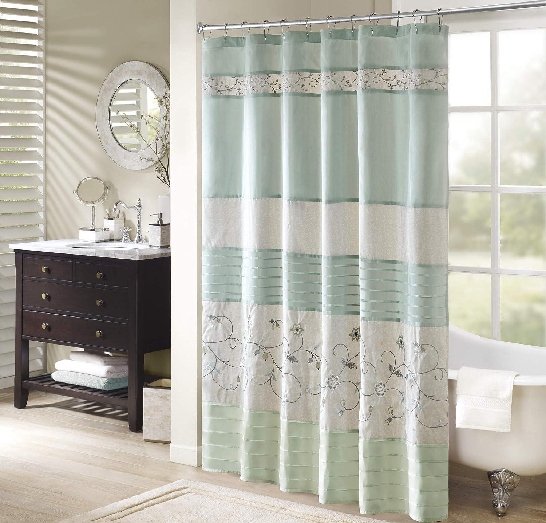 Madison Park Serene Shower Curtain Faux Silk Embroidered Floral Machine Washable Modern Home Bathroom Decorations, 72x72, Aqua