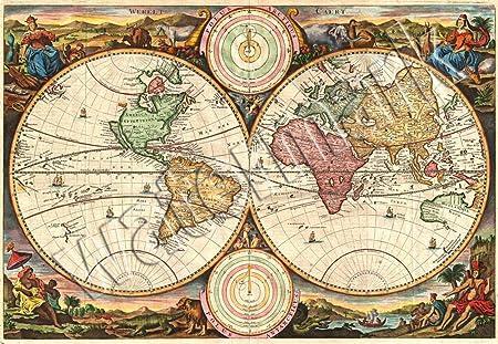 Ancient latin mythological world map poster a1 a2 a3 wall art ancient latin mythological world map poster a1 a2 a3 wall art gumiabroncs Images